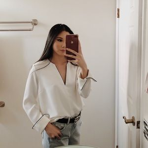 H&M white blouse with Black lining detail